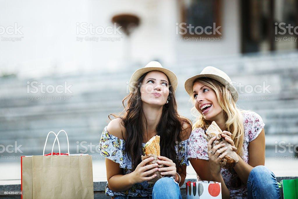 Beautiful Girls in Shopping stock photo