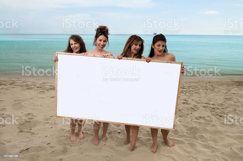 Beautiful girls on the beach royalty-free stock photo