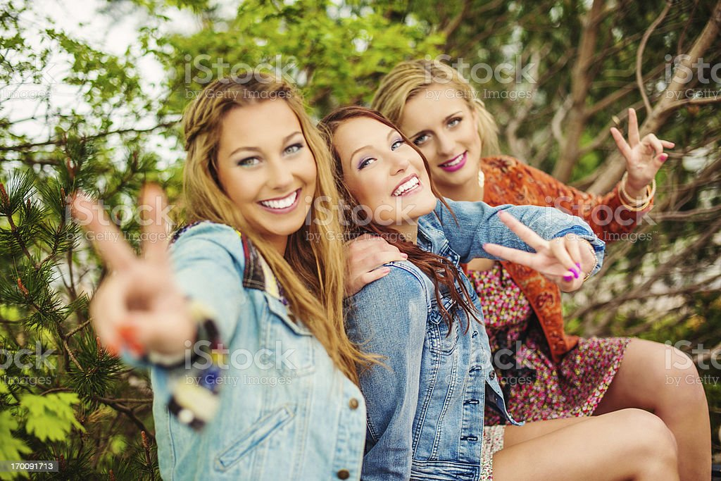 Beautiful girls out in summer stock photo