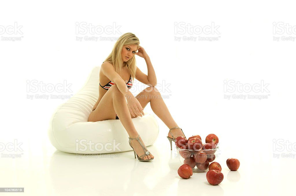 beautiful girls with apples royalty-free stock photo