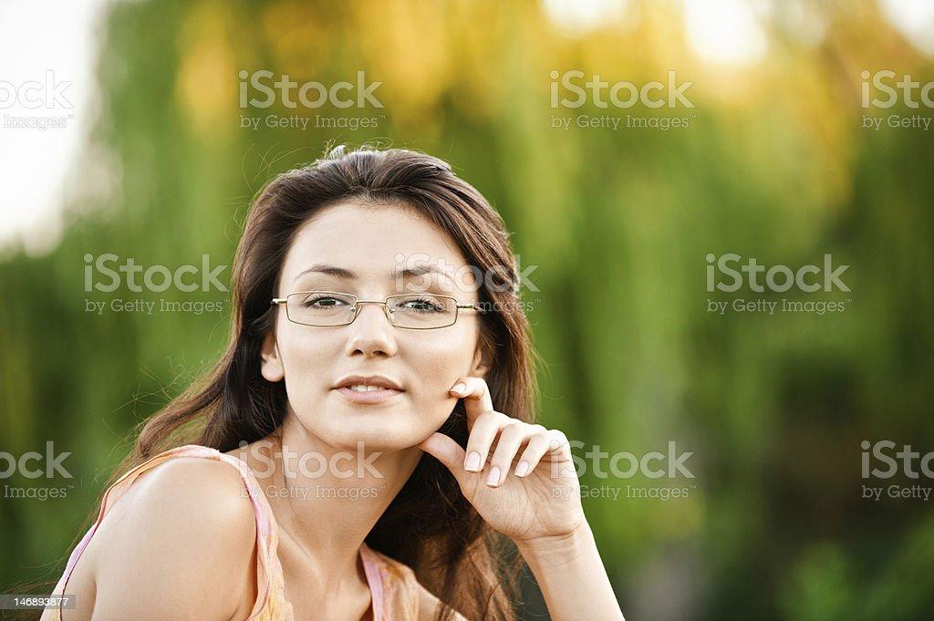 Beautiful girl-student on nature royalty-free stock photo