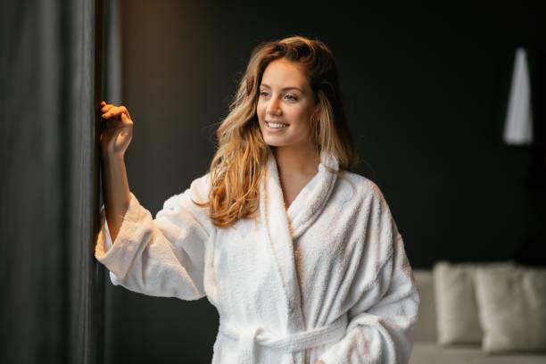 beautiful glamorous woman in bathrobe - accappatoio foto e immagini stock