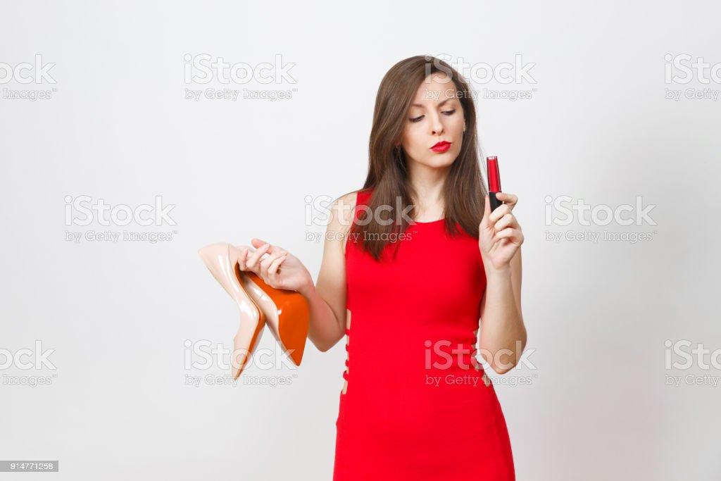 Hermosas Glamour Moda Pensativo Perplejo Joven En Vestido