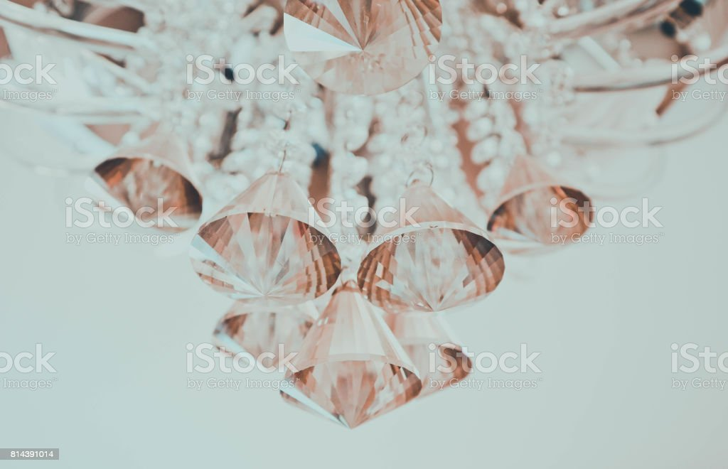 Beautiful glamour glass crystal chandelier closeup stock photo