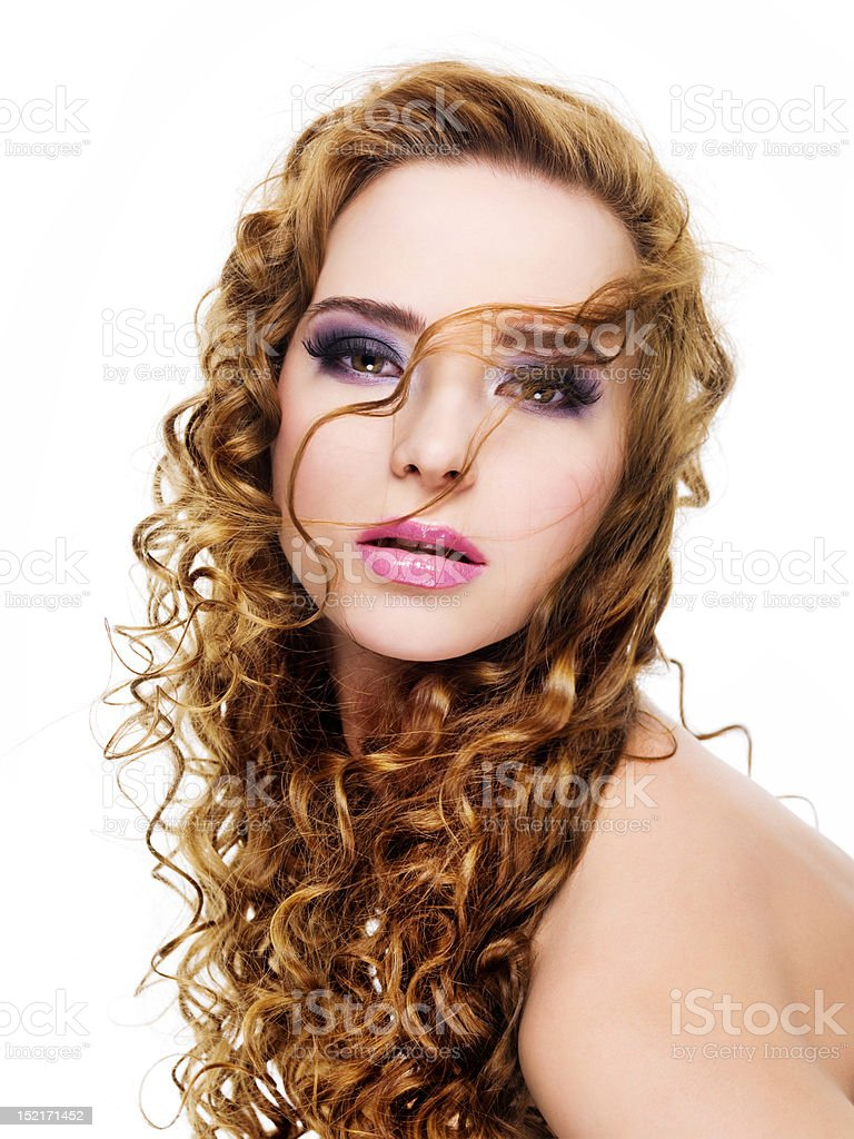 Beautiful glamour  woman with bright make-up stock photo