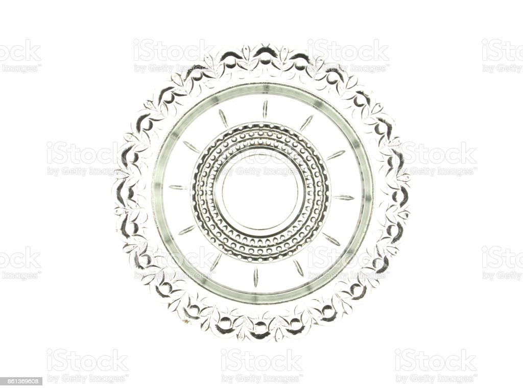 Beautiful glass decorative element isolated on a white background. stock photo