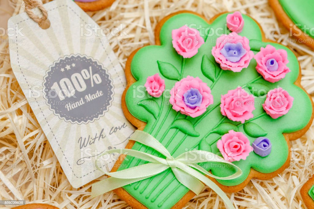 Beautiful glazed Easter cookies - bouquet stock photo