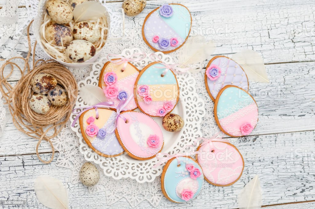 Beautiful glazed Easter cookies stock photo