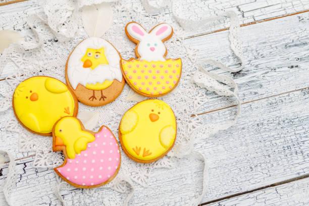 Beautiful glazed Easter cookies stock photo