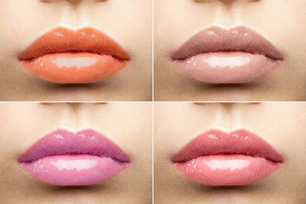 Beautiful glossy lips nude collection stock photo