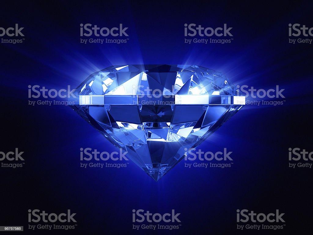 Beautiful glowing blue diamond stock photo