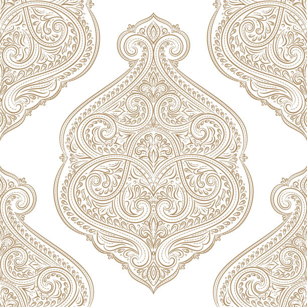 Beautiful gold and white floral seamless pattern. Vintage vector, paisley elements. Traditional, Turkish, Indian motifs. Great for fabric and textile, wallpaper, packaging or any desired idea. Vector illustration lace textile stock pictures, royalty-free photos & images