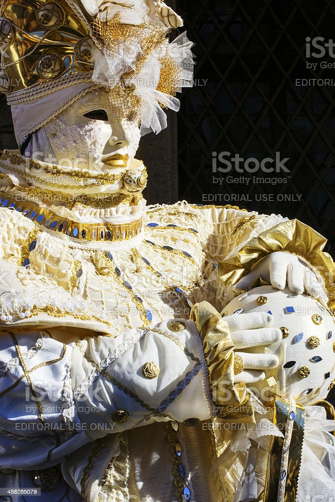 Beautiful gold and white mask at Carnival of Venice 2013 royalty-free stock photo
