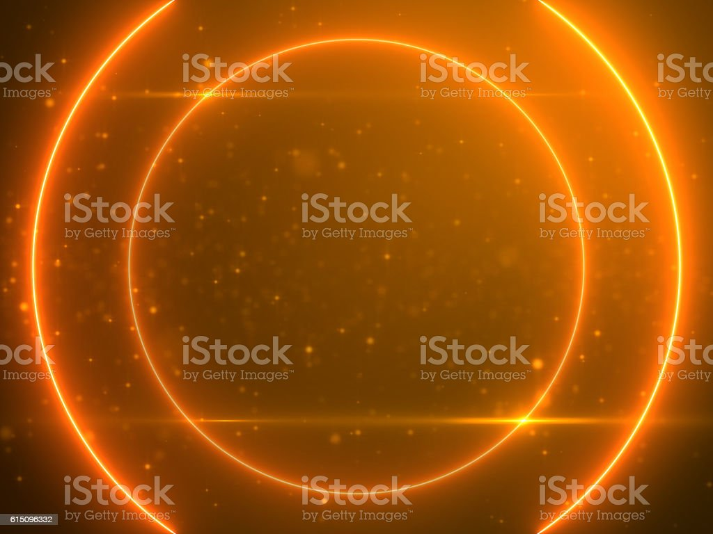 Beautiful Gold Circle Light with Lens Flare on Particles Background stock photo