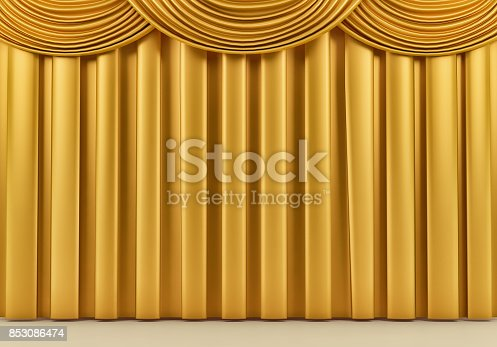 939155332 istock photo Beautiful gold stage curtain. 3d render 853086474