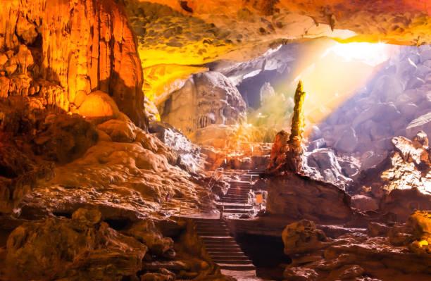 vackra guld solljuset skiner till sung sot cave eller överraskning grotto på bo hon island är en av finaste och bredaste grottoes i ha long bay, ligger i centrum av unesco-förklarade världsarv - stalagmit bildbanksfoton och bilder