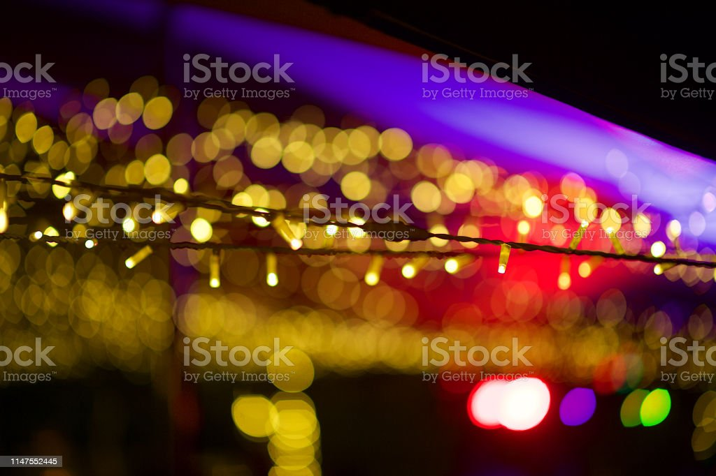 Image of: Beautiful Golden Bokeh String Fairy Lights At An Outdoor Tent Defocussed Stock Photo Download Image Now Istock
