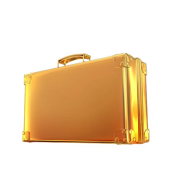 Schöne goldene Aktentasche aus business auf weißem Hintergrund  – Foto