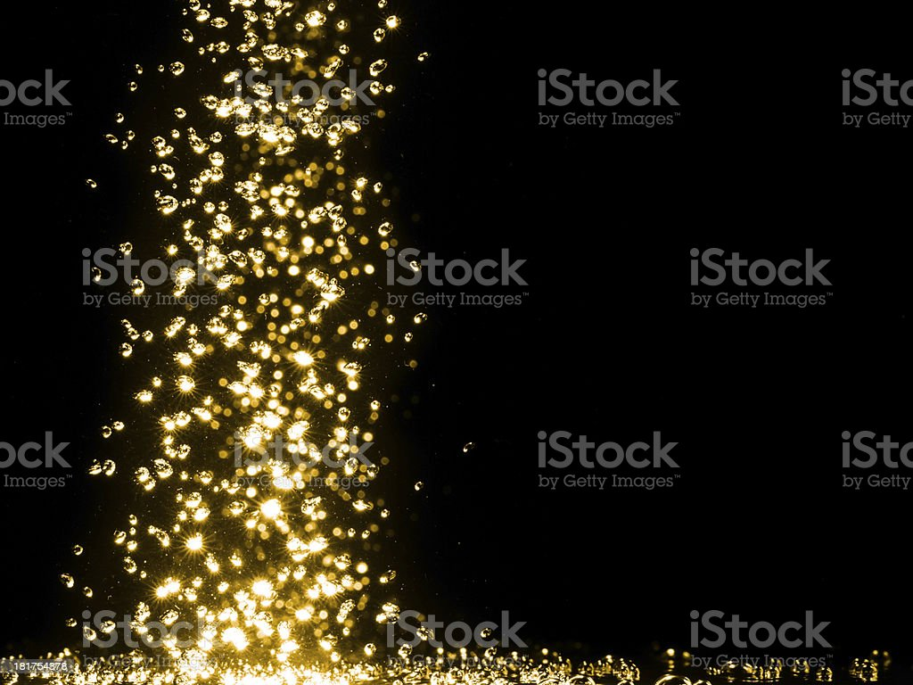Beautiful golden bubbles. stock photo