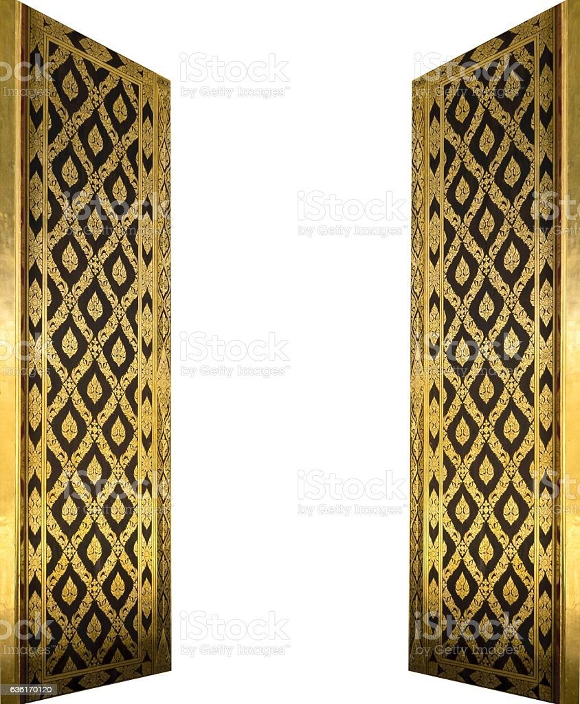 Beautiful Golden Doors Isolated on White Background stock photo & Royalty Free Thai Door Pictures Images and Stock Photos - iStock