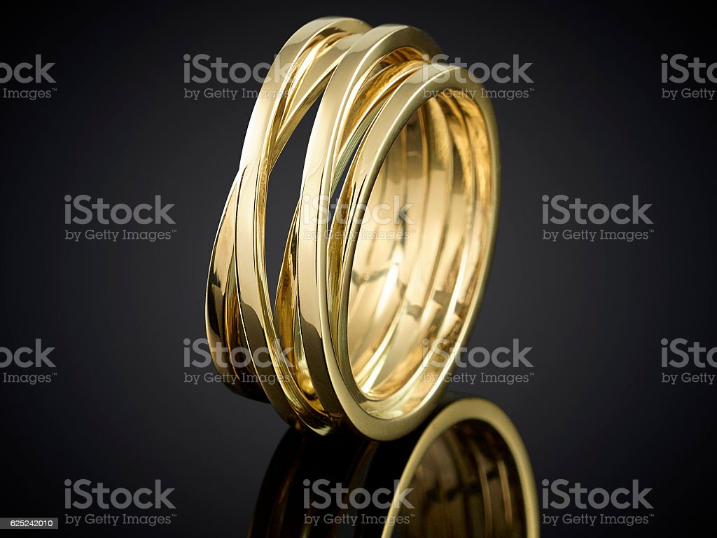 Beautiful Golden Ring Isolated On Black Background Stock Photo ...