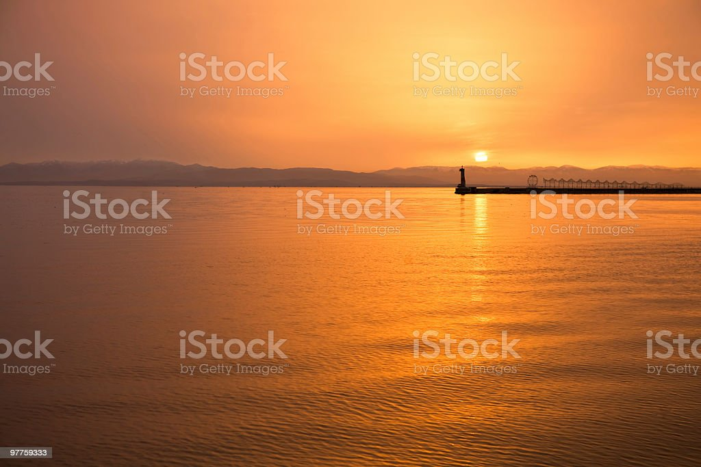 Beautiful golden sea sunset royalty-free stock photo