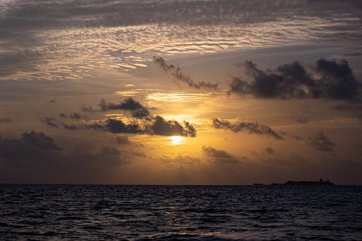 Beautiful golden sunset on the Indian ocean