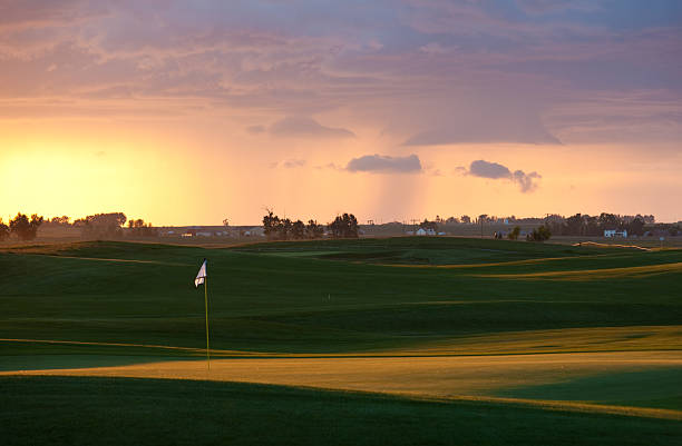 Beautiful Golf Course in a Rural Setting stock photo