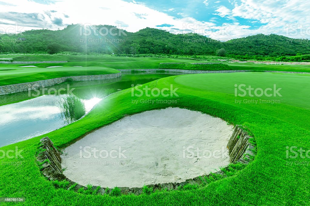 beautiful golf course, Thailand stock photo