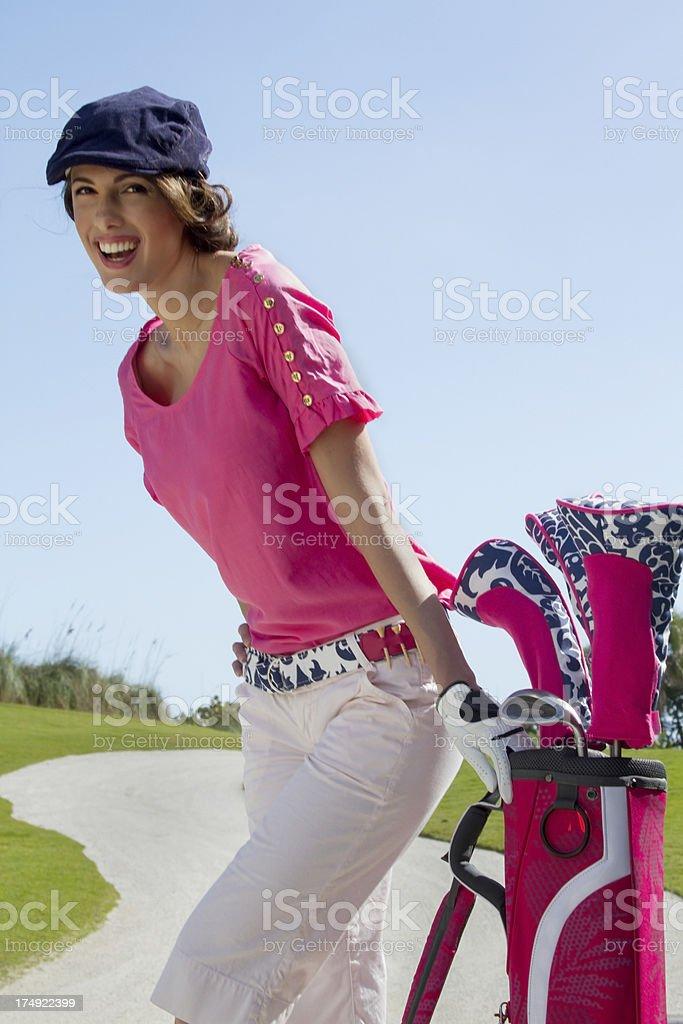 Beautiful golfer smile royalty-free stock photo