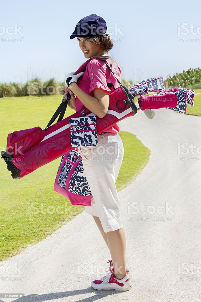 Beautiful golfer vertical royalty-free stock photo
