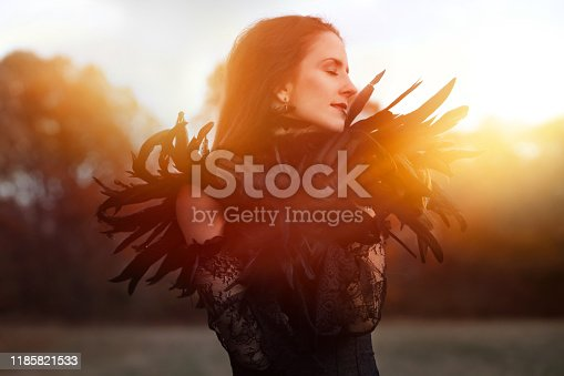 istock Beautiful Goth woman wearing black lace and feathers 1185821533