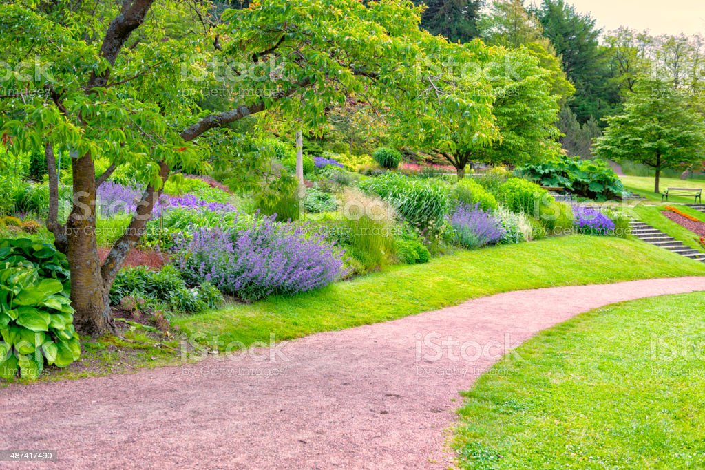 Beautiful Gothenburg garden and footpath stock photo