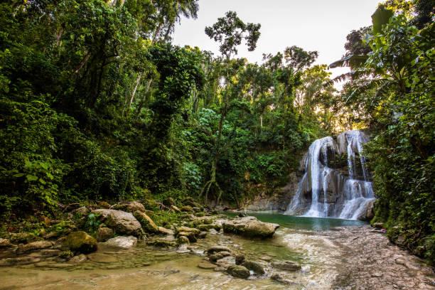 Beautiful Gozalandia Waterfall in San Sebastian Puerto Rico stock photo