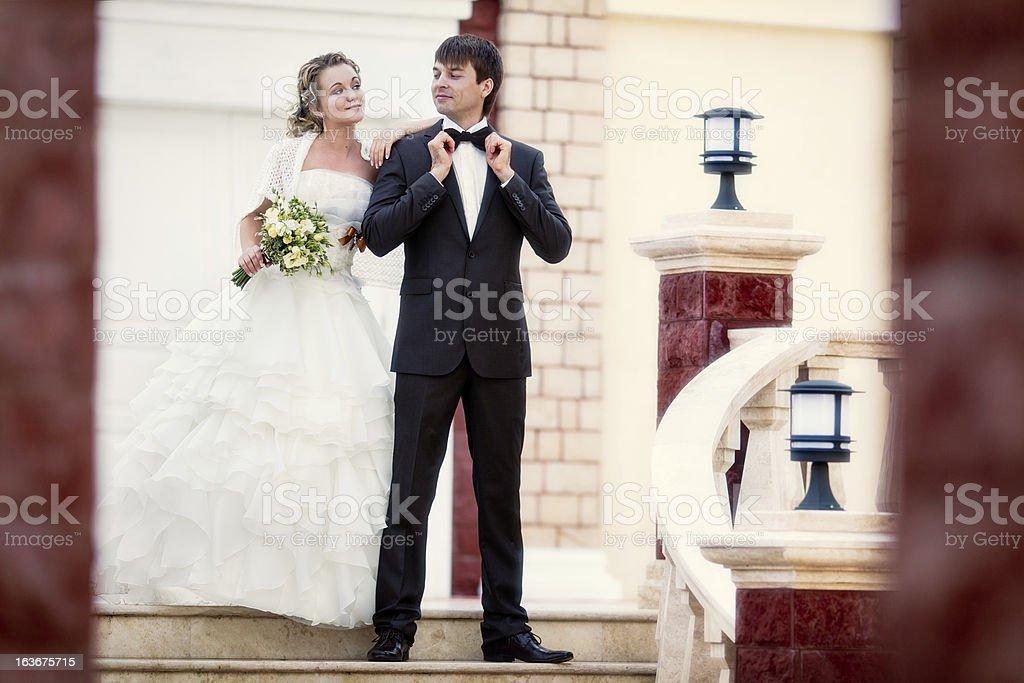 Beautiful graceful happy couple newlyweds royalty-free stock photo