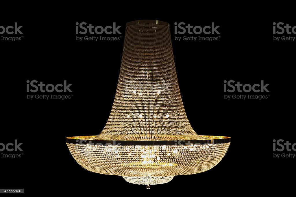 Beautiful Grand chandelier isolated with clipping paths on black background. royalty-free stock photo