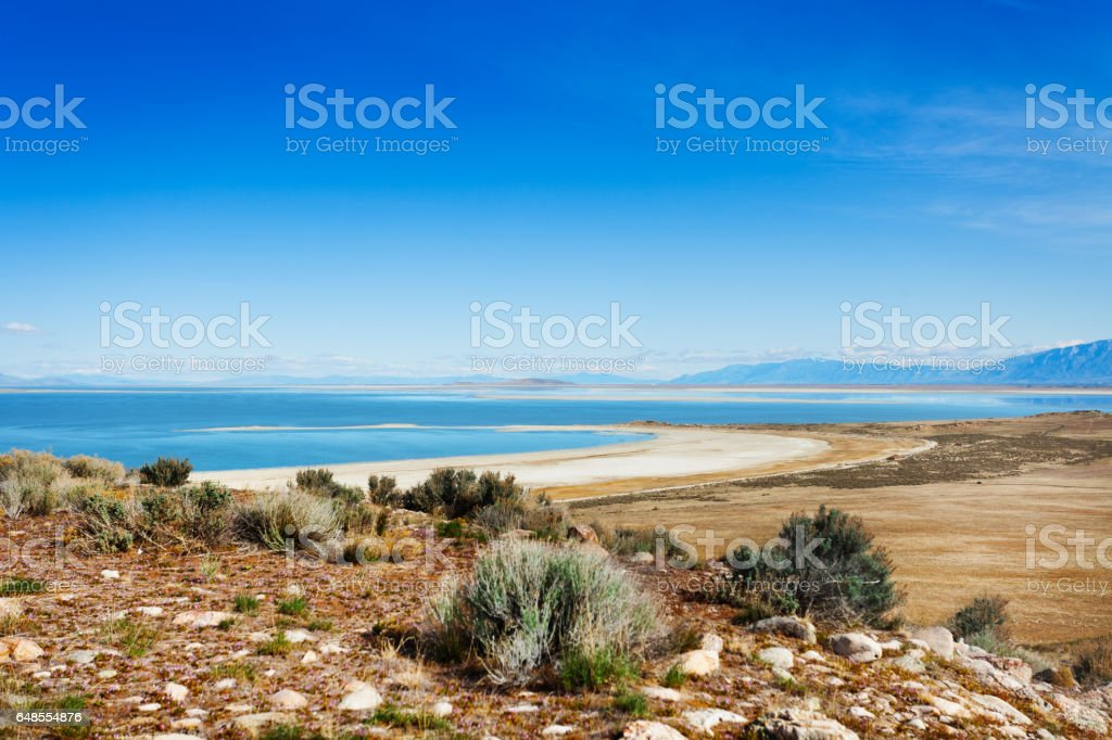 Beautiful Great Salt Lake from Antelope Island stock photo