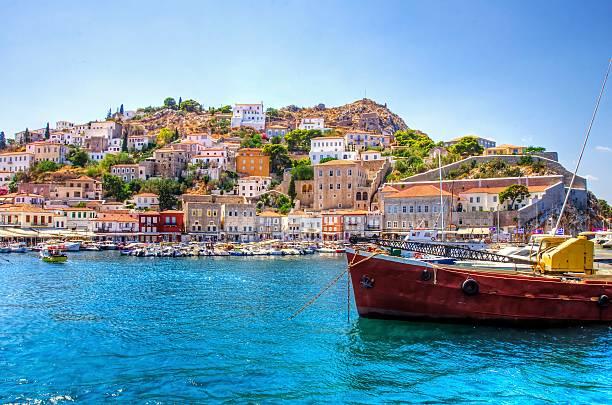 beautiful greek island, hydra - grekiska övärlden bildbanksfoton och bilder