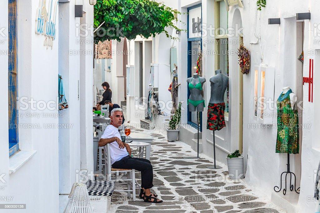 Beautiful Greek Island of Paros - Town of Naoussa royaltyfri bildbanksbilder