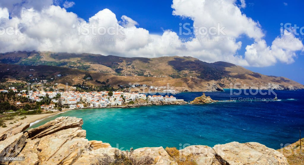 beautiful Greek islands series - Andros, view of Chora. Cyclades stock photo