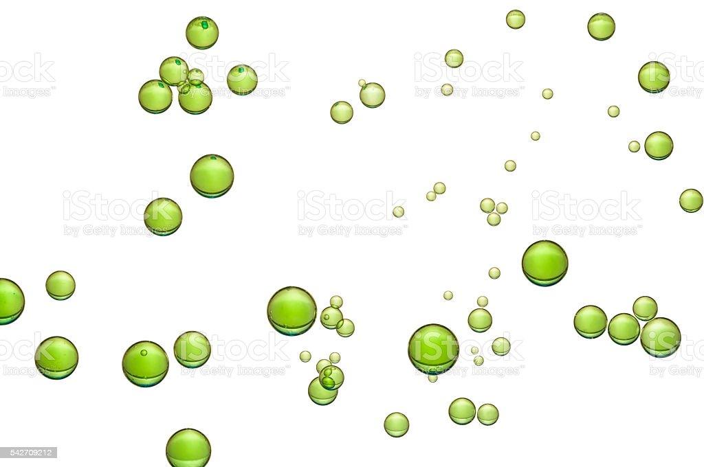 Beautiful green air bubbles stock photo