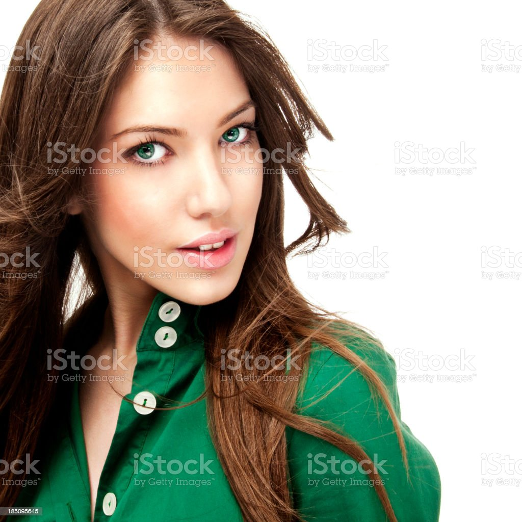 Beautiful green eyes girl stock photo