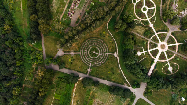A beautiful green labyrinth in the botanical garden named after M.M. Grishka, Kiev, Ukraine stock photo