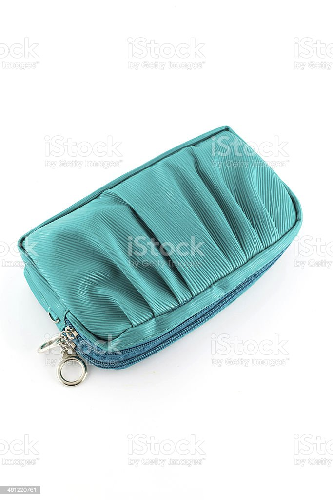 beautiful green leather woman bag isolated on white stock photo