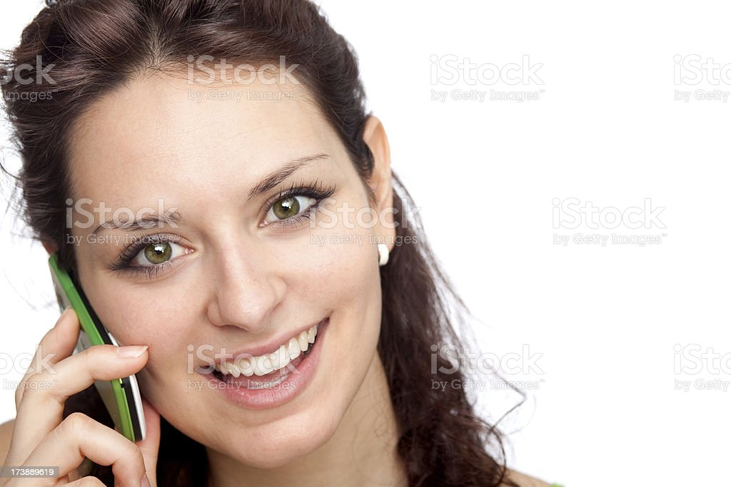 beautiful green young brunette girl expression portrait communic royalty-free stock photo