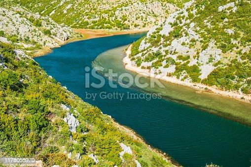 Deep canyon of beautiful green Zrmanja river in Croatia