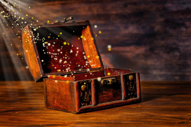 beautiful greeting card of opened vintage chest treasure stock photo