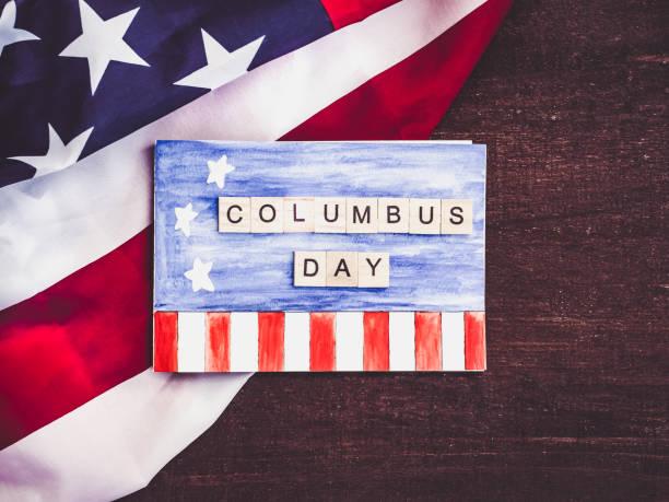 콜럼버스의 날에 아름 다운 인사말 카드입니다. 휴가 위한 준비 - columbus day 뉴스 사진 이미지