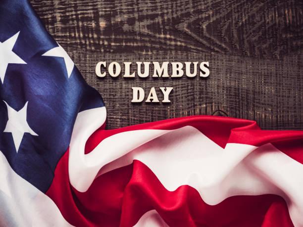콜럼버스의 날에 아름다운 인사말 카드. 휴가 준비 - columbus day 뉴스 사진 이미지