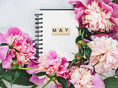 istock Beautiful greeting card with the word MAY 1130342223